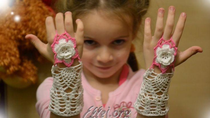 Как связать крючком ажурные митенки на один палец. The fingerless mittens ForEva.