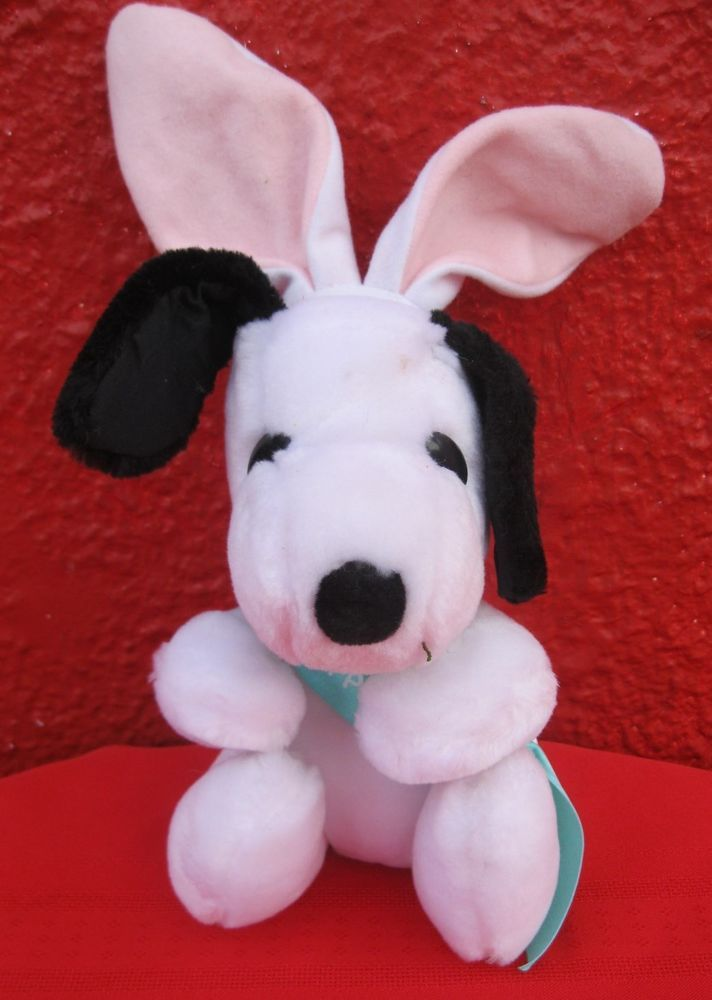 "Vintage Ambassador Hallmark Snoopy Dog Beagle Happy Easter Plush Bunny Toy 12""✞  #Hallmark"