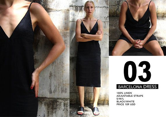 Barcelona Dress 100% Linen Dress  The little black dress every woman needs.
