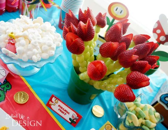 Strawberry treats at a Super Mario Bros birthday party! See more party ideas at CatchMyParty.com!