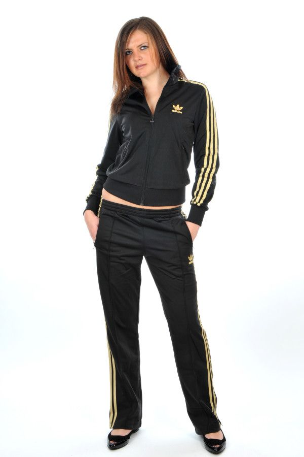 Adidas Trefoil Firebird Womens Tracksuit In Black Metallic