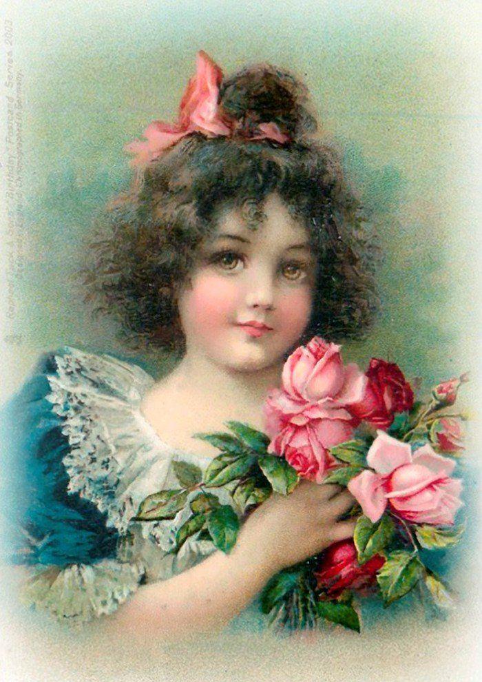 Девочка на старинной открытке, картинки животных