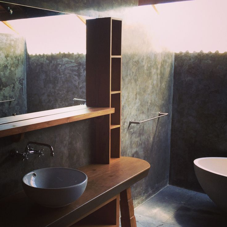 Bathroom wood and concret only. Ubud Bali