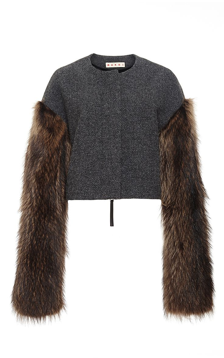Wool Tweed Cropped Jacket with Fur Sleeves  by Marni Now Available on Moda Operandi