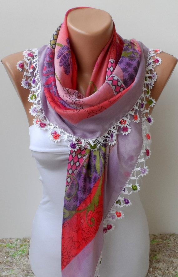 Crochet scarf / Floral scarf / Yemeni scarf, oya lace scarf