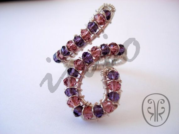 Unique design of silver plated wire ring with crystals by Inio on Etsy handmade jewelry