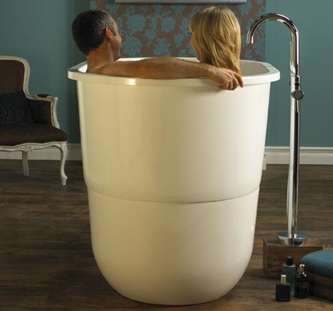 Japanese Sit Bath Tub - deep free standing soaking tub Sorrento by Victoria & Albert - I rather like the sitting up bathtubs better than the lying down sort. Less water, and you can still read or have a cuppa