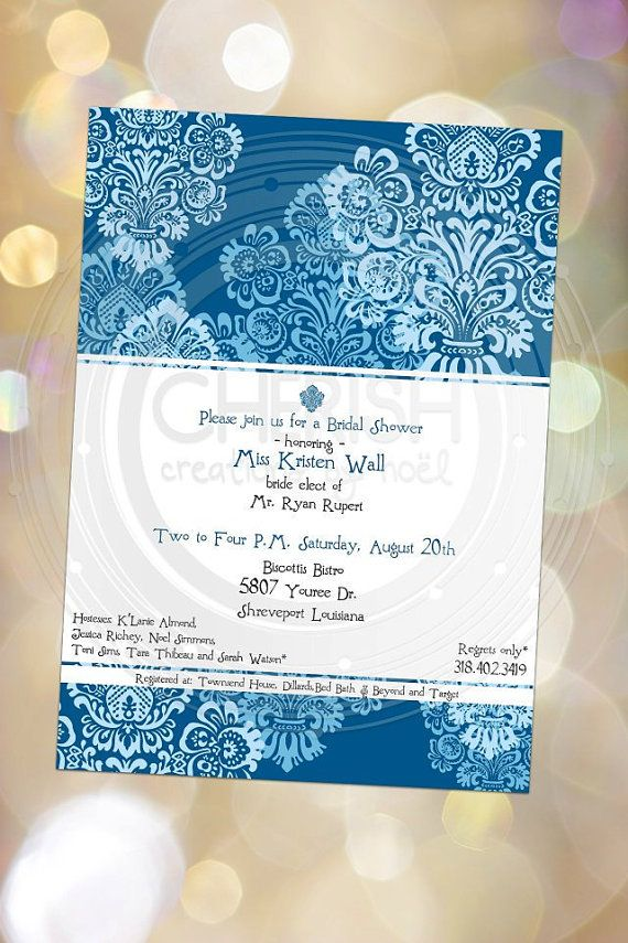 Blue Damask 25 All Occasion Invitation