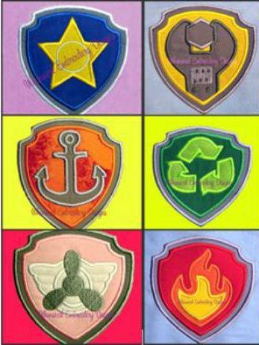 Paw Patrol Dog Badges Set of 6 Applique Machine Embroidery Design INSTANT DOWNLOAD