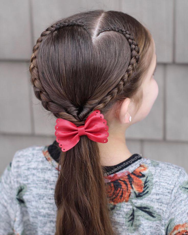 Heart hairstyle #braids #hairstyle #kids #tweenstyle