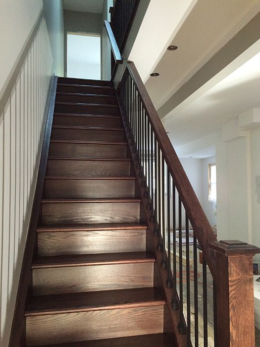 Best Capping Refacing Box Stair New Stringers Solid Oak Dark Stain Finish Oak Railing Solid Oak Wood 400 x 300