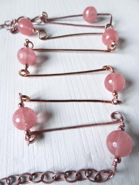 CUOREROSSO COLLANA lunga di rame rosa con perle di Cuorerosso, €120,00