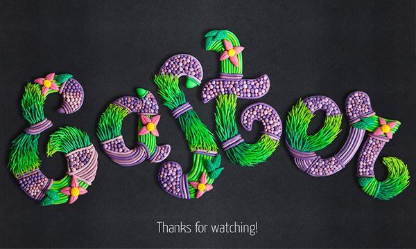 Easter plasticine lettering by Ilona Belous