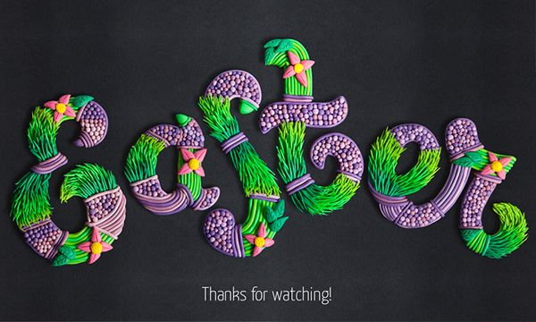 Easter plasticine lettering by Ilona Belous