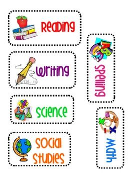 Subject labels perfect for the white board!With pictures for all learners