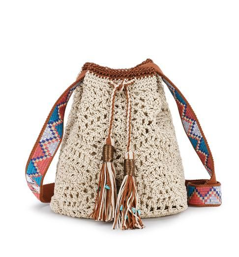 Featuring crafted details such as a thick crochet strap and pom tassels, the Sayulita Drawstring is one of our newest styles in a collection of casual and cool crochet.