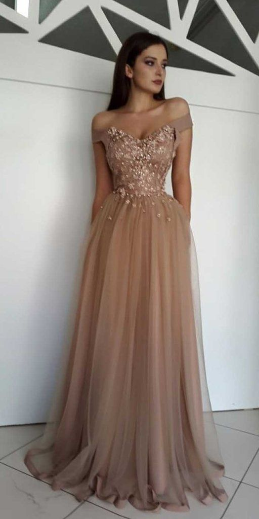 07d16fe553 Charming Off the Shoulder Tulle Applique Long Prom Dresses