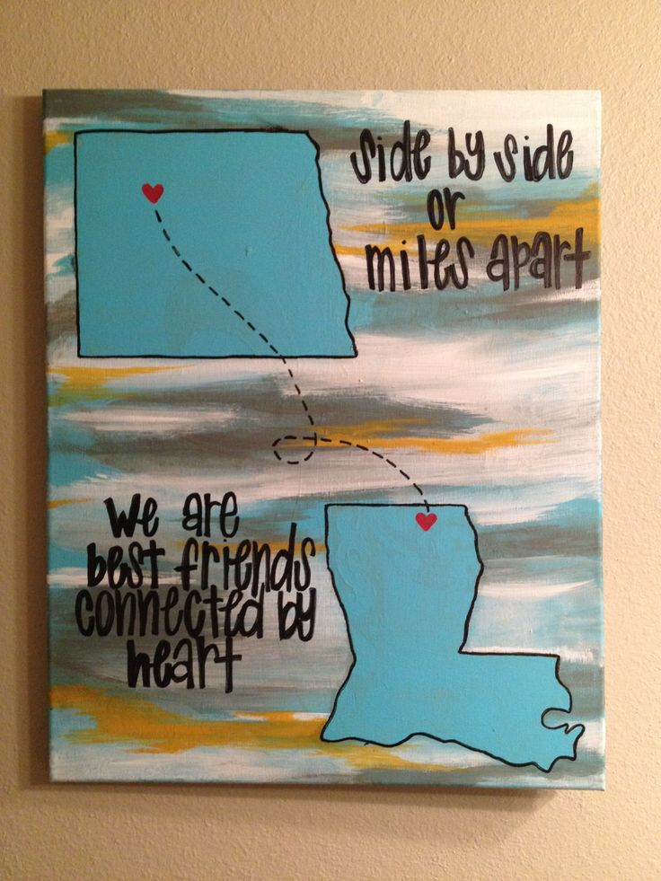 best friend painting. side by side or miles apart we are best friends connected by heart! canvas painting