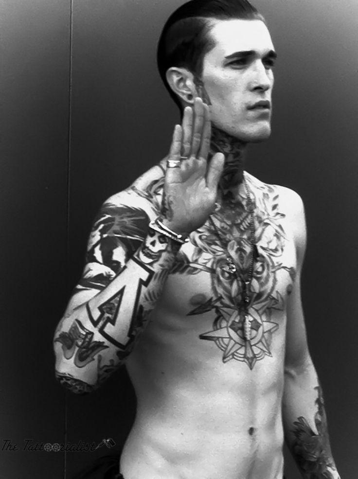 """""""I swear."""" Jimmy Q. Tattoo breastplate. Muscle sleeve. Tattoos, body art."""