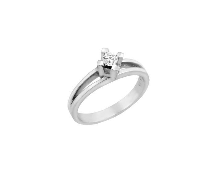 Μονόπετρο δαχτυλίδι Al'oro  Κ18 λευκόχρυσο διαμάντι ZL481