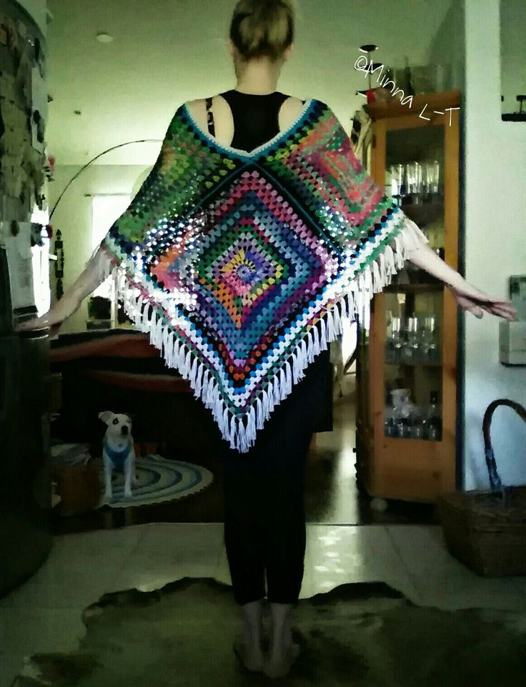 Crocheted colorful Poncho , My own Design