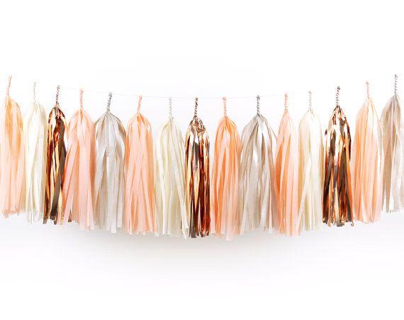 DIY Tissue Tassel Garland Kit - Peach - Champagne, Ivory, Blush, Copper, Rose Gold White Paper Room Wedding Shower Tassle Decor Balloon Tail