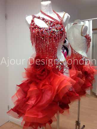 Ajour Design London red beaded fringe diagonal layered ruffle horsehair frill skirt latin dress crystal bodice design