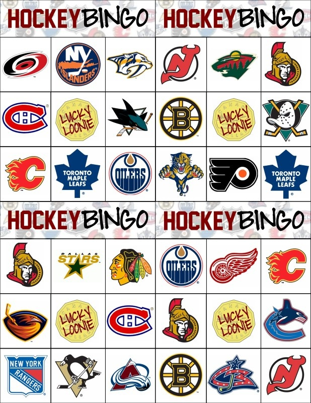 Hockey Bingo Cards (Sheet of 4 on 8.5x11)
