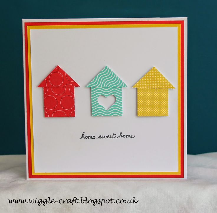 New Home Card using Stampin' Up! Punches and card. punch square for house.  same square cut diagonal for roof.