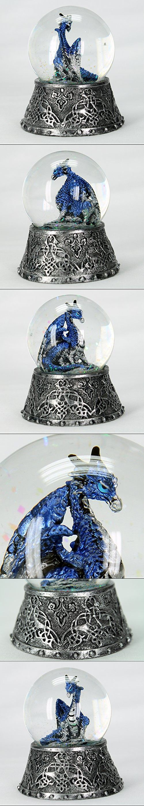"Dragon Figurine Statue Blue in Snow Globe with Medieval Base 3 1/2"" Tall"