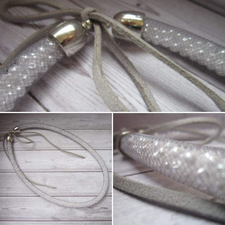 This pretty grey mesh and white bead necklace is available to buy on etsy https://www.etsy.com/ie/shop/OAKSI?ref=ss_profile