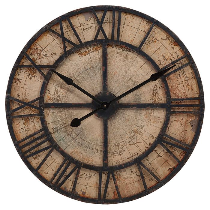 Add A Stylish Touch To Your Kitchen Or Home Office With This Distressed Wall  Clock, Featuring Roman Numerals Laid Over A Map Inspired Background.