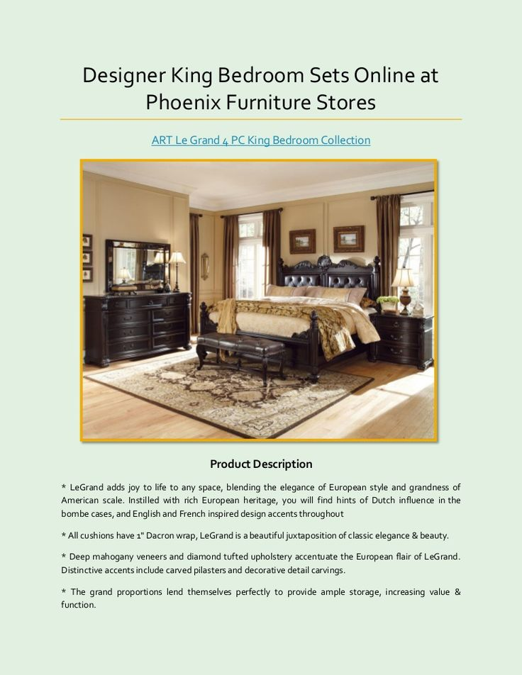 Designer King Bedroom Sets Online at Phoenix Furniture Stores >> http://goo.gl/qHL77C  #KingBedroomSets #KingBeds #LeonFurnitureStore