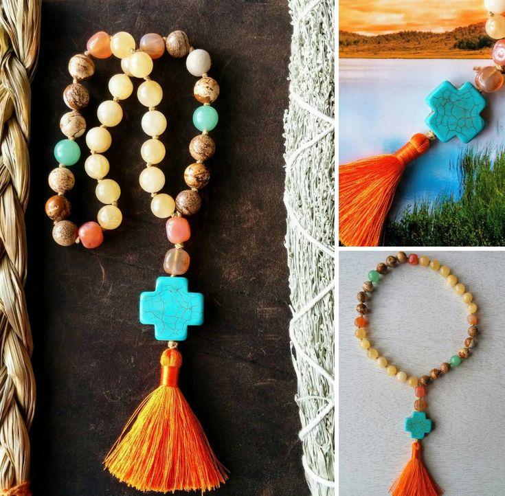 Howlite Cross Prayer Beads, 33 Bead Prayer Rope, 33 Bead Chotki, Anglican Prayer Beads,Yellow Calcite, Carnelian, Picture Jasper, Aventurine by MysticKeyMeditations on Etsy