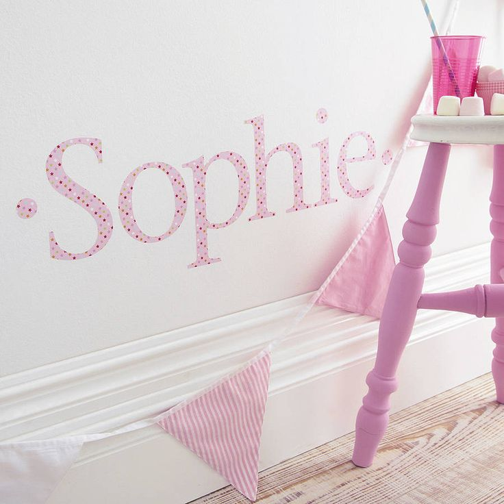 Personalised Pink Twinkle Wall Letter Sticker Part 94