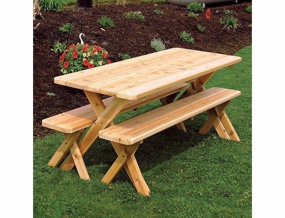 Cedar Wood Cross Legged Table With Two Benches Picnic Table Picnic Table Bench Table And Bench Set