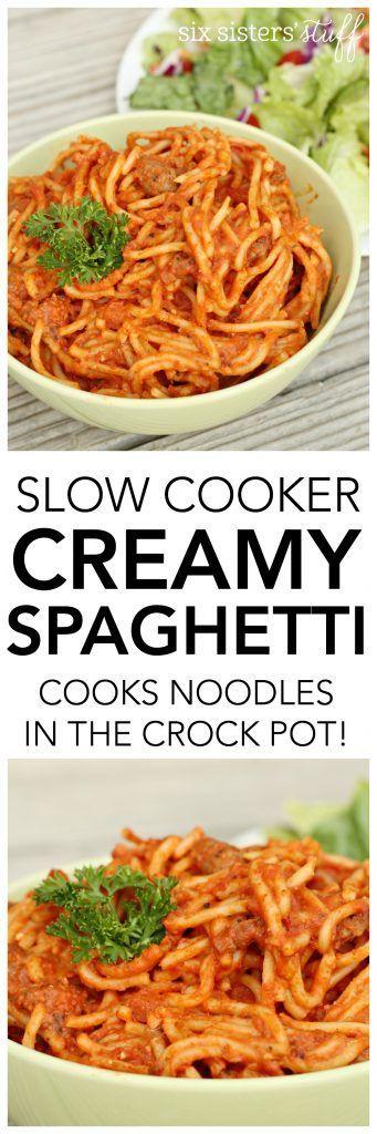 Slow Cooker Creamy Spaghetti recipe from SixSistersStuff.com | Crockpot dinner idea | Easy Dinner