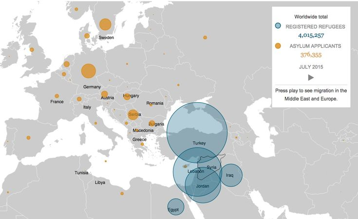 """{  WHERE ARE SYRIA'S REFUGEES GOING?  }  #GlobalPost ..... """"More than 4 million Syrians have fled their country in four years of conflict. Here's where they've gone.""""  (via Los Angeles Times)  ..... http://graphics.latimes.com/syrian-migration/"""