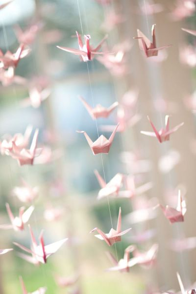 prachtige origami zwaantjes slinger