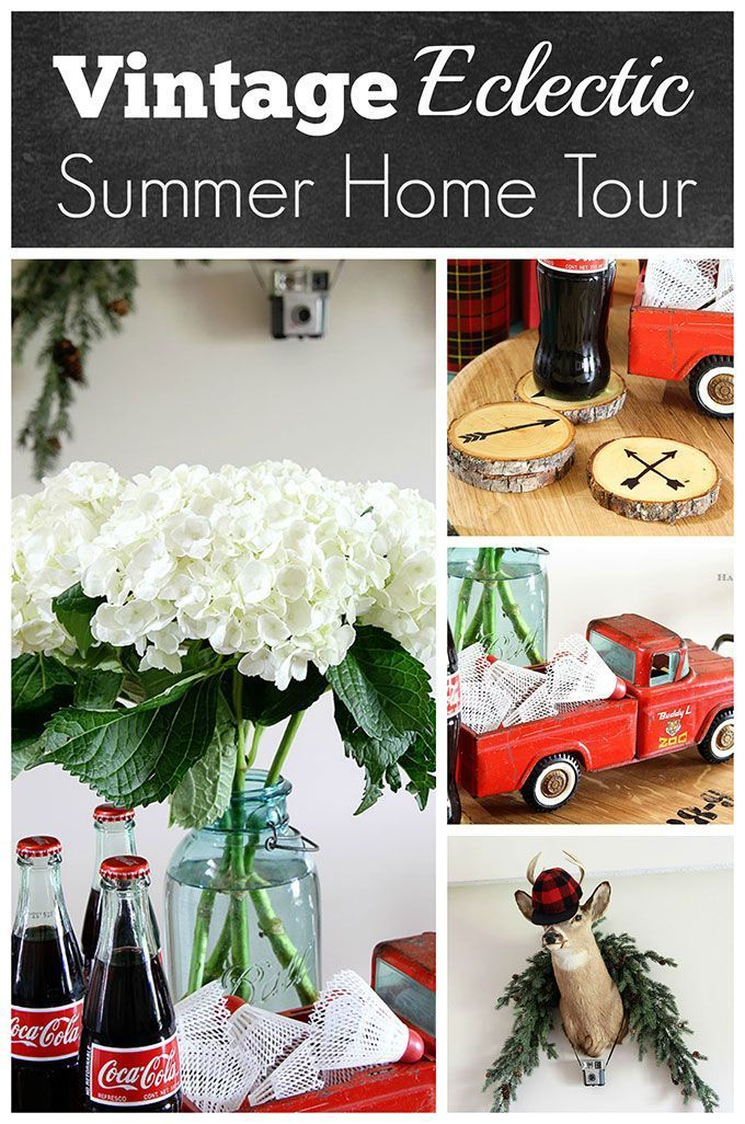 A rustic vintage eclectic style summer home tour including vintage thermoses, cameras, typewriter and vintage croquet and badminton equipment.