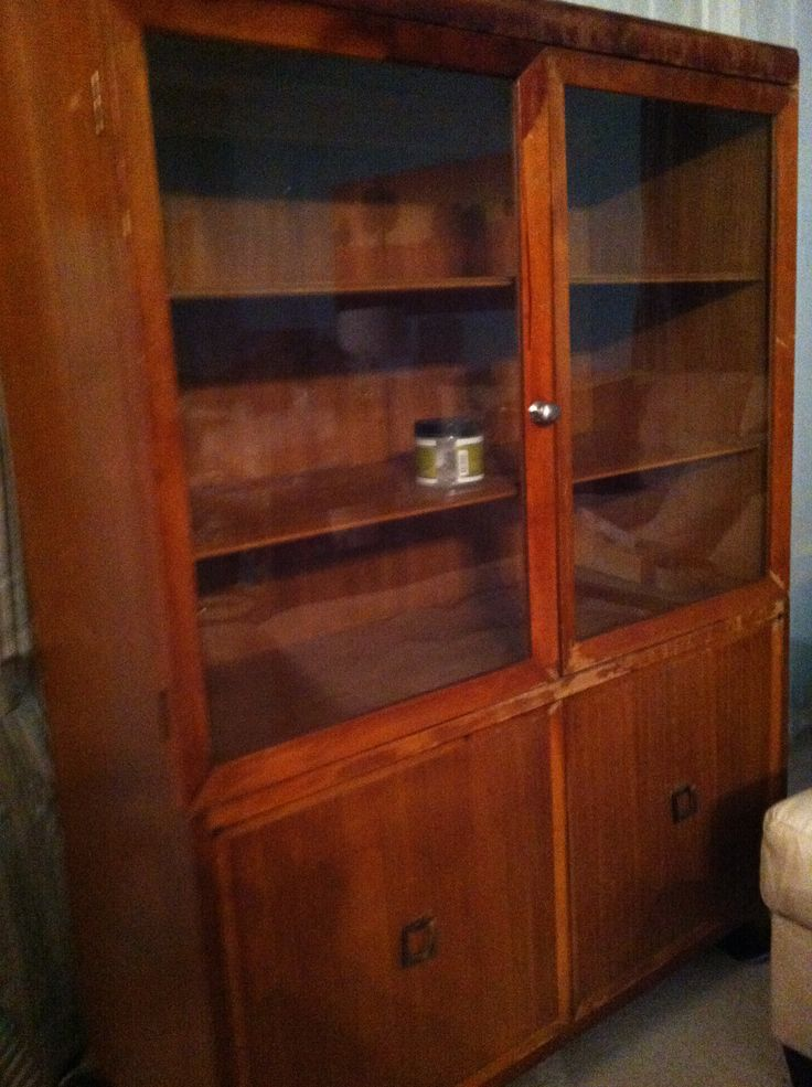 Before - $15 Thrift Store Cabinet redo.  Mid-century cabinet with great potential.