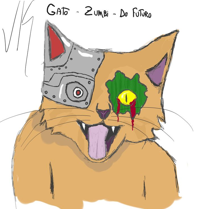 Desafio de desenho xD  /  Gato Zumbi do Futuro( Zombie Cat from the future)