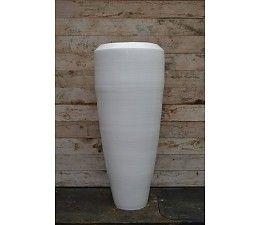 Bora Bora Vaas 100cm Wit, grote aardewerk vaas.