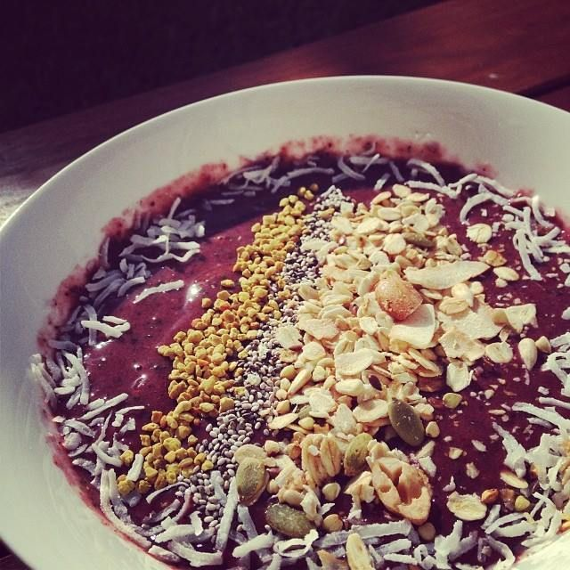 Superfood Smoothie Bowl!    -1/2 leaf of kale - 2 small cos lettuce leaves - 1/2 frozen banana  - 2 handfuls of frozen mixed berries - 2 tablespoons of Food Matters Superfood Protein Blend  - 200ml water.   Blended and garnished with coconut, bee pollen, chia seeds and muesli!