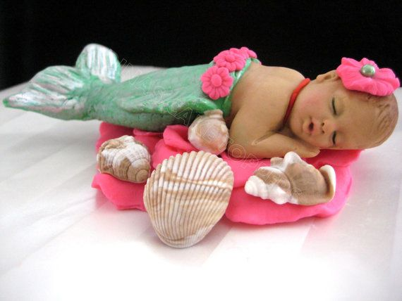 MERMAID Baby Cake Topper 1st Birthday baby by DinasCakeToppers, $55.00