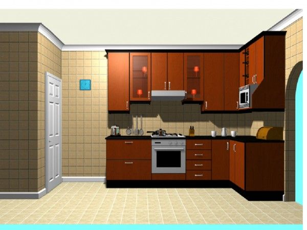 Luxurious Kitchen Furniture Set With Modern Wood Cabinet Free Planning Software 3D Picture