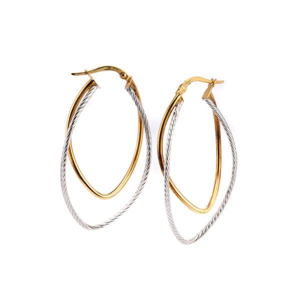 Σκουλαρίκια κρίκοι δίχρωμο  χρυσό  Κ14 -7205
