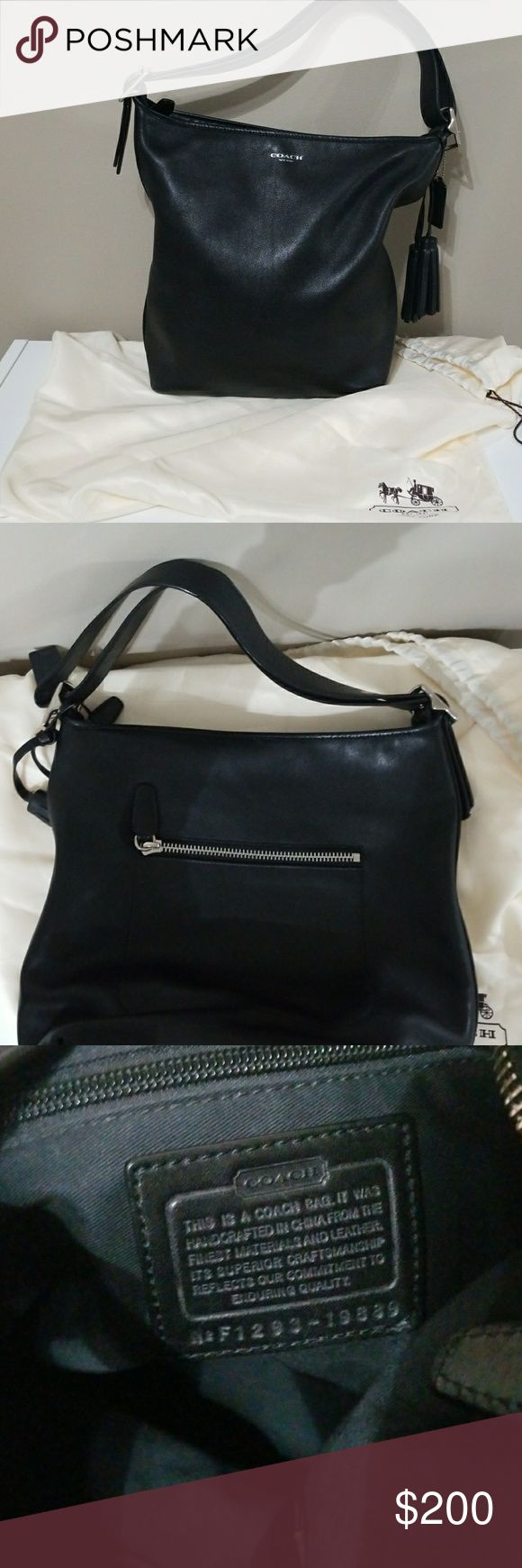 Coach Hobo Bag Authentic Coach Hobo bag.  Top zipper closure.  Inside zipper pocket.  2 open pockets.  Exterior zipper pocket.  Straps convert from shoulder to crossbody straps.  Great for shopping when you need free hands. Slight wear on the bottom edges.  Great condition. Coach Bags Shoulder Bags