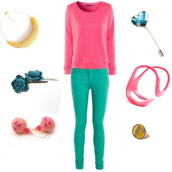 """United Colours"" by pinezajewelry on Polyvore  Find the accessories here:   Acrylic pink bracelet by http://www.etsy.com/shop/HelenaRibeiro  Pink felted earrings by http://www.etsy.com/shop/EfZinCreations  Bib necklace by http://www.etsy.com/shop/HunkiiDorii  Bobby pins by http://www.etsy.com/shop/agatechristina  Heart Pin by http://www.etsy.com/shop/ThePurpleBalloon  Ring by http://www.etsy.com/shop/HardResols"