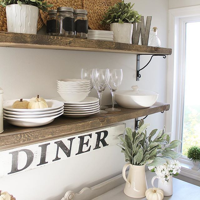Love that we now have these farmhouse style open shelves  in our dining room😍. We made them from scrap wood and brackets we already had from another project🤗! Sharing them for some Friday hashtags #foilagefridayfreshorfaux #friDIYday #farmhousefridays #fauxflowerfriday #frugalfarmhousefridays (thanks for tag @anorthernbelle💗) . . Would @farmhouseonelderhill and @thegermancottage care to share on this Friday? . . #homedecor #rusticdecor  #diydecor #decoronadime #ikea #rusticdecorideas…